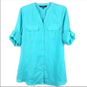 New Nicole Miller Linen Button Up Blouse Teal